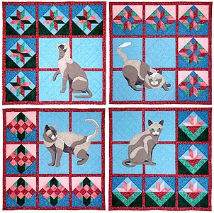 Quilts & Cats (set of 4)