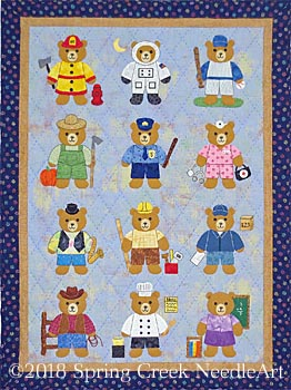 Bears at Work wall quilt